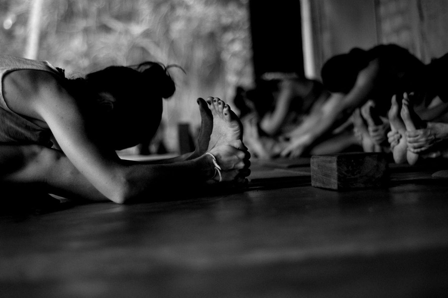 černobílá fotografie z jógování na Srí Lance, kdy se všichni snaží dojít rukama až k nohám při naplích kolenou